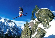 Low angle view of a man skiing (thumbnail)