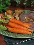 Roast beef with potatoes and carrots