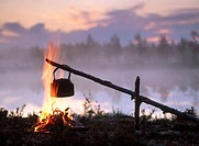 Coffee boiling over a campfire, at sunrise. Byske. Vasterbotten. Sweden