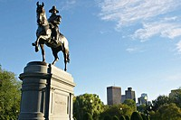 Massachusetts, Boston, Statue of George Washington mounted on a horse in Boston Garden, created by Thomas Ball