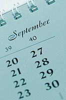 Close-up of a calendar displaying the month of September