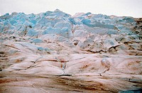 Aerial view of Mendenhall Glacier covered with blue ice, Mendenhall Glacier, Juneau, Alaska, USA