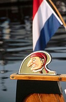 Detail of traditional Dutch boat. Amsterdam, Holland
