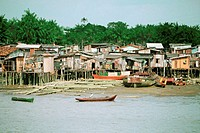 Houses on stilts and boats in water, Belem, Brazil