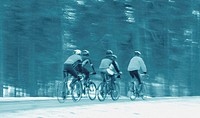 Rear view of five people cycling