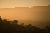 Panoramic view of a hill range at dusk, Sausalito, San Francisco, California, USA