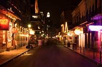 Bourbon street with illuminated lights, night