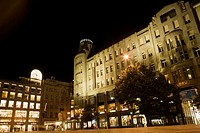 Low angle view of a shopping mall at night, Wencelas Square, Prague, Czech Republic