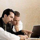 Close-up of a male doctor with two businessmen looking at a laptop