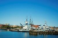 Sailboats in the river, USS Cassin Young, Boston Harbor, Boston, Massachusetts, USA