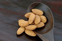 Almonds, close-up, overhead view