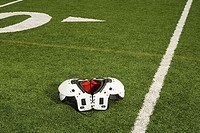 Shoulder pads on football field