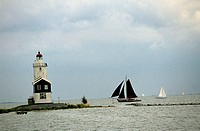 netherlands, marken, view of the lighthouse called white horse