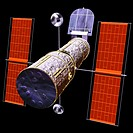 computer graphic images of space and an artificial satellite,an earth satellite