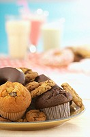 Plate of cookies, cupcakes and muffins