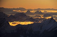 scenery, landscape, mountains, Alps, Santis, view, mountain panorama, myths, Alps, Central Switzerland, Europe, dusk,