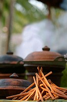 Balinese cooking pots, cinnamon sticks foreground. Bali, Indonesia