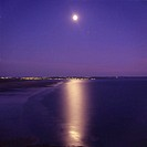 sea, coast, lights, at night, night, scenery, landscape, moon, full moon, night scenery, Saunton Sands beach, brown to