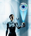 Woman looking at a futuristic hi-tech device