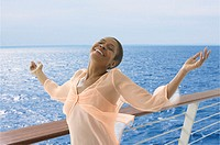 Portrait of happy woman on cruise ship