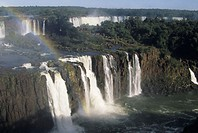 Igazu Falls with rainbow, looking from Brazil side into Argentina