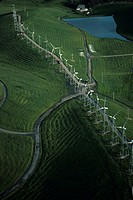 Wind Power turbines, aerial view