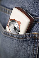 Close-up of a mobile phone in a pocket