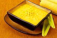 High angle view of a bowl of corn soup