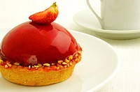 Close-up of a strawberry tart in a plate (thumbnail)