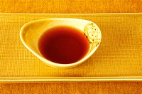 High angle view of soy sauce in a bowl