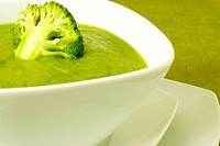 Close-up of a bowl of broccoli soup