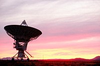 Silhouette of a radio telescope, New Mexico, USA