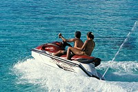 Jet ski riders in the Moorea lagoon