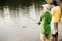 Rear view of two brothers fishing near a lake