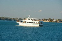 Tourists on a yacht in the sea, Miami, Florida, USA