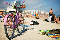 Close-up of a bicycle on the beach, South Beach, Miami, Florida, USA