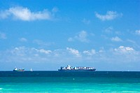 Ship and a boat in the sea, South Beach, Miami, Florida, USA