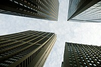 Low angle view of skyscrapers in a city, Chicago, Illinois, USA