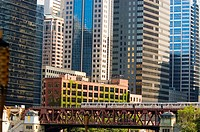 Train crossing a bridge, Chicago, Illinois, USA