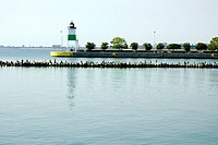 Lighthouse in the sea, Chicago Harbor Lighthouse, Chicago, Illinois, USA