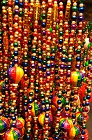 Close-up of multi-colored necklaces, New Orleans, Louisiana, USA