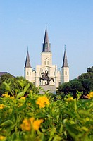 Statue in front of a cathedral, St. Louis Cathedral, Jackson Square, New Orleans, Louisiana, USA