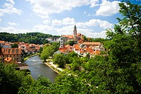 River flowing through a city, Czech Republic