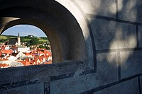 Buildings in a city seen through an arch, Prague, Czech Republic