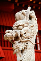 Close-up of the statue of a dragon, Shuri Castle, Naha, Okinawa, Japan
