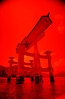 Low angle view of a gate, Shrine Gate, Miyajima, Japan