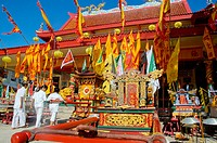 Thailand, Phuket Town, Chinese Vegetarian Festival. Bang Neow Temple celebrates its centennial. Believers dressed in white for the vegetarian festival...