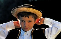 France, Brittany, Dinan, boy wearing traditional costume