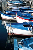 France, Corsica, Bonifacio, 'pointus' boats in harbour (thumbnail)