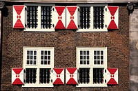 The Netherlands, Leiden, detail of traditional house